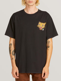 Ozzie Tiger Short Sleeve Tee In Black, Front View