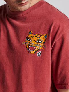 Ozzie Tiger Short Sleeve Tee In Burgundy, Second Alternate View