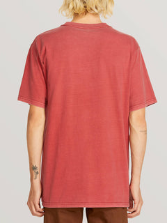 Ozzie Tiger Short Sleeve Tee In Burgundy, Back View