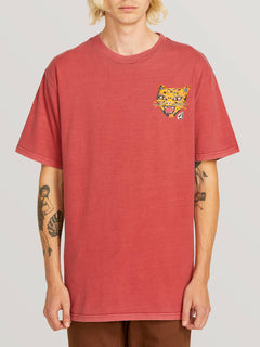 Ozzie Tiger Short Sleeve Tee In Burgundy, Front View