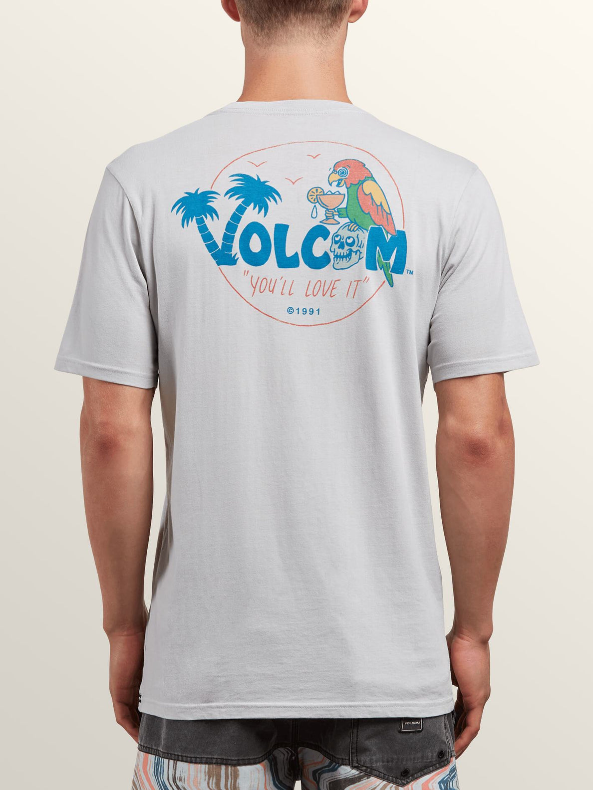 El Loro Loco Short Sleeve Tee In Off White, Back View