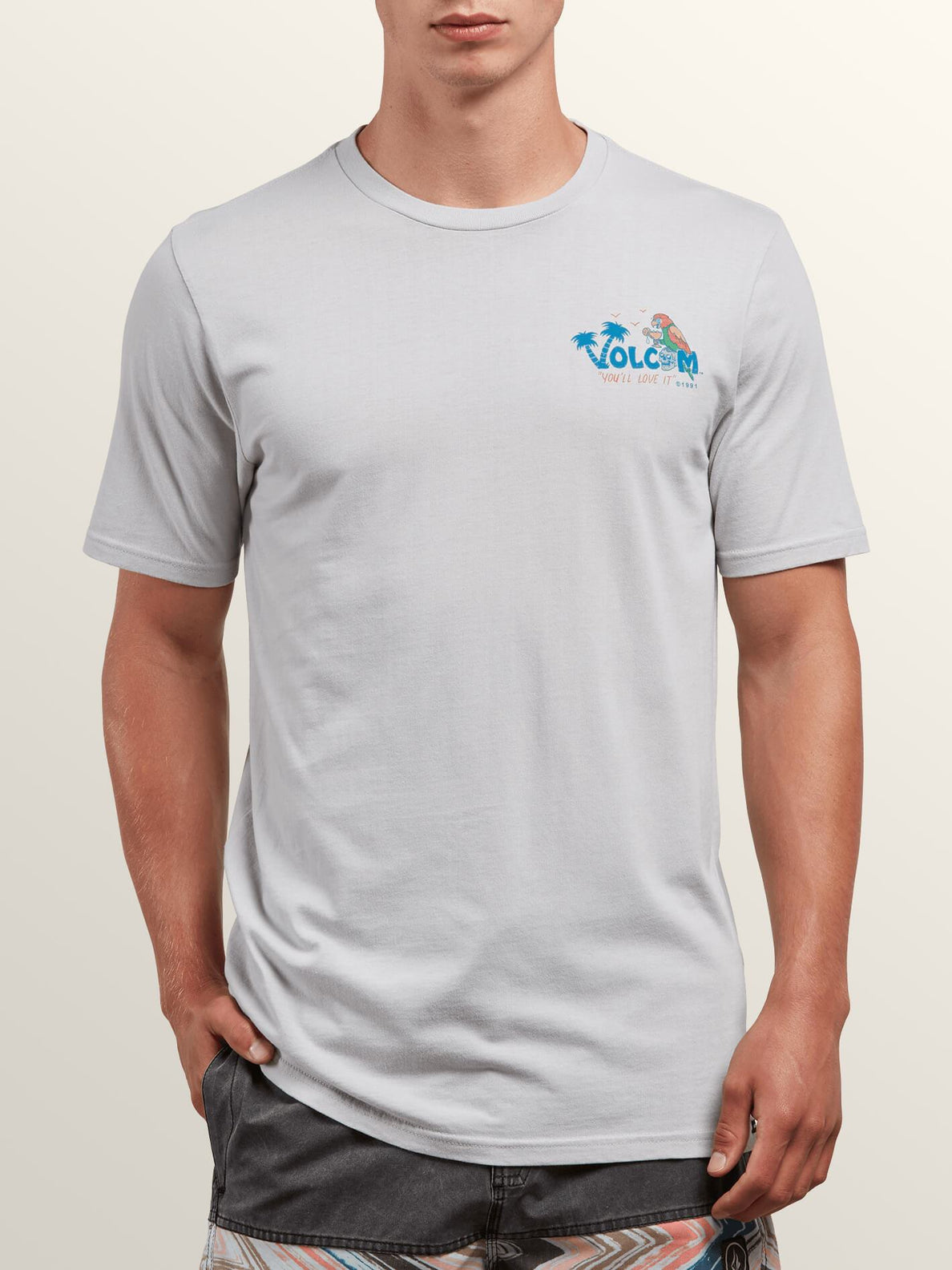 El Loro Loco Short Sleeve Tee In Off White, Front View