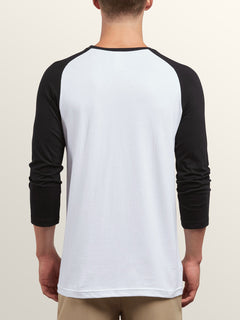 Cage 3/4 Raglan In White, Back View