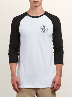 Cage 3/4 Raglan In White, Front View