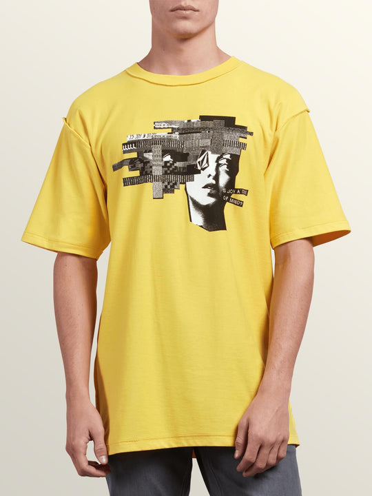 Noa Noise Head Short Sleeve Tee In Cyber Yellow, Front View