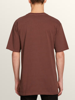 Mixer Short Sleeve Tee In Bordeaux Brown, Back View