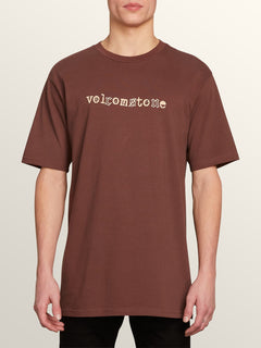 Mixer Short Sleeve Tee In Bordeaux Brown, Front View