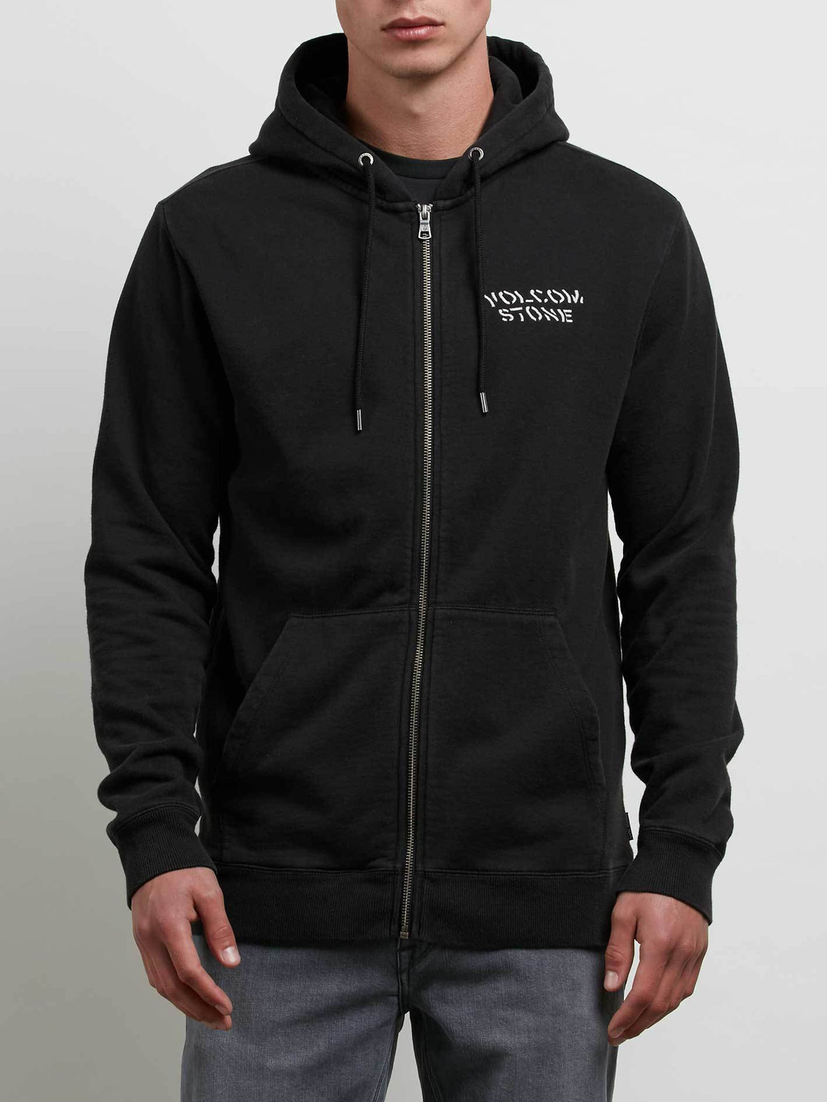 Reload Zip Hoodie In Washed Black, Front View