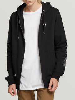 Supply Stone Zip Hoodie In Black, Front View