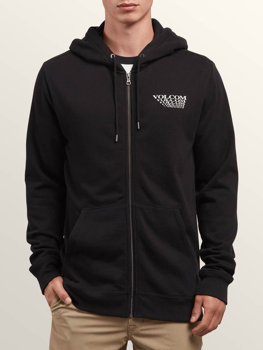 Reload Zip Hoodie In Black, Front View
