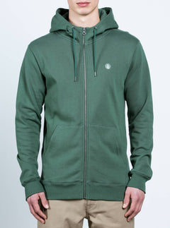 Single Stone Zip Hoodie In Evergreen, Front View