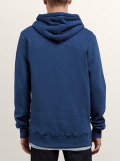 Single Stone Zip Hoodie In Matured Blue, Back View