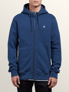 Single Stone Zip Hoodie In Matured Blue, Front View