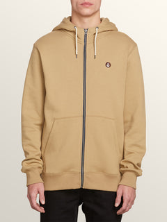 Single Stone Zip Hoodie In Sand Brown, Front View