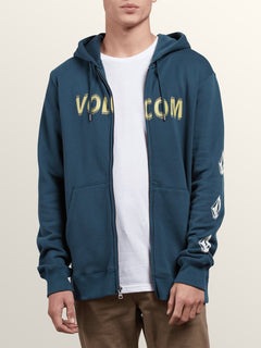 Supply Stone Zip Hoodie In Navy Green, Alternate View