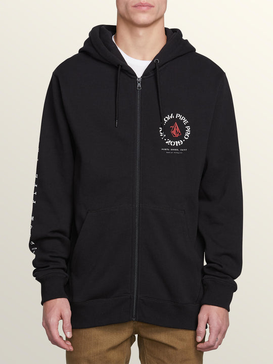 Pipe Pro Zip Hoodie In Black, Front View