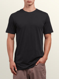 Solid Ss Tee In Black, Front View
