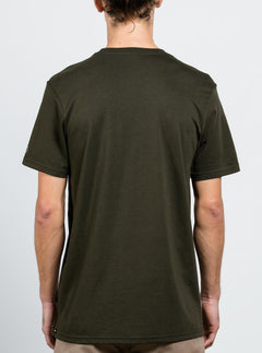 Solid Ss Tee In Dark Green, Back View