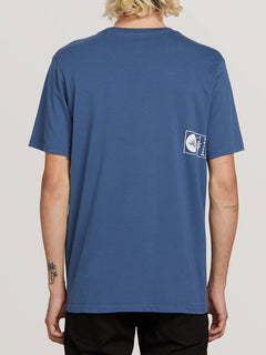 Audio Waves Short Sleeve Tee In Indigo, Back View