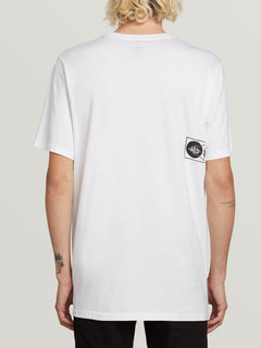 Audio Waves Short Sleeve Tee In White, Back View
