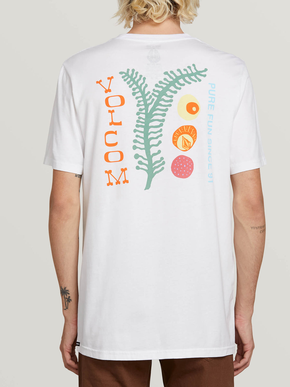 Natural Fun Short Sleeve Tee In White, Back View