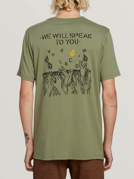 Crowd Control Short Sleeve Tee In Dusty Green, Back View