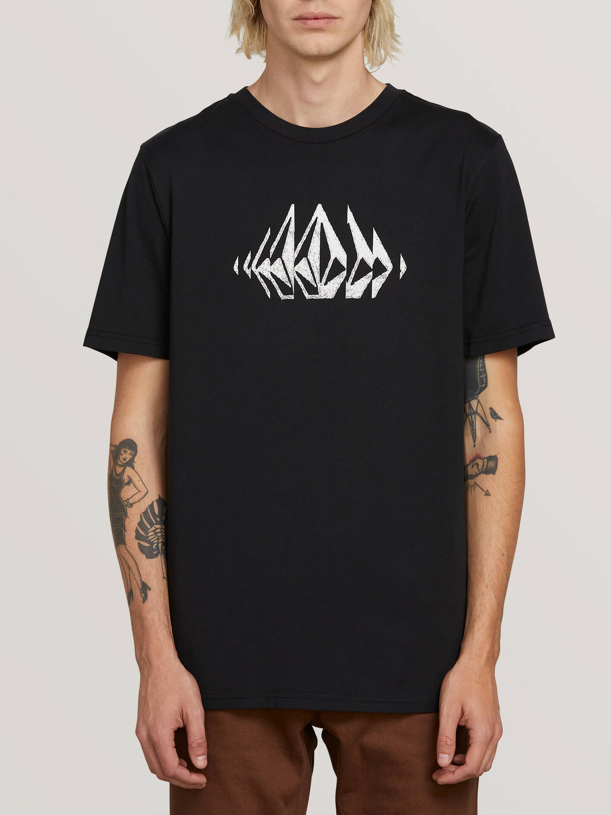 Stone Sounds Short Sleeve Tee In Black, Front View