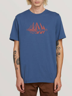 Stone Sounds Short Sleeve Tee In Indigo, Front View