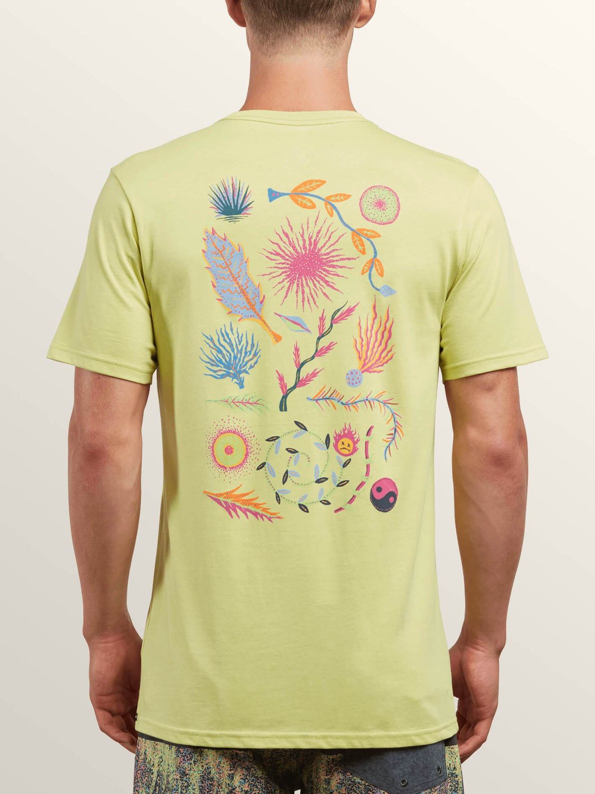 Neon Levitate Short Sleeve Tee In Shadow Lime, Back View