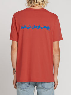 Volcom Plus Short Sleeve Tee In Mineral Red, Back View