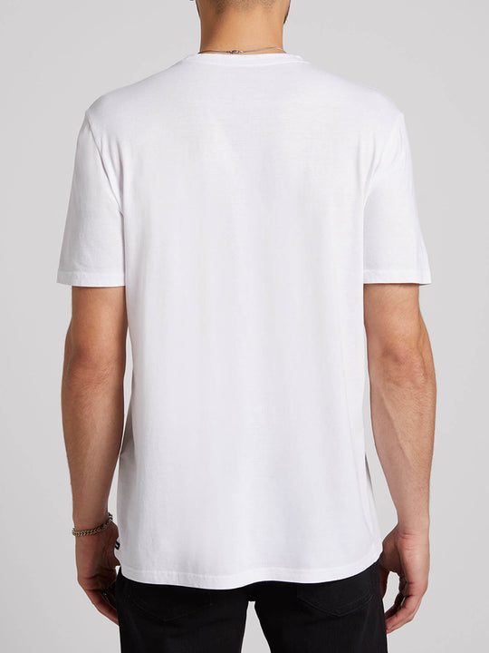 Cyclic Short Sleeve Tee In White, Back View