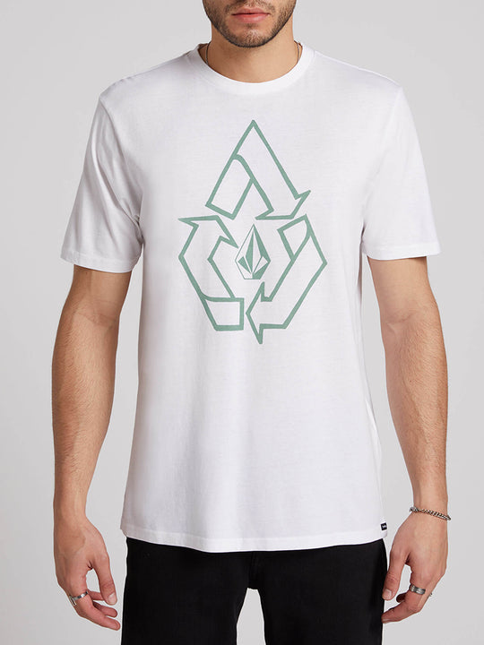 Cyclic Short Sleeve Tee In White, Front View