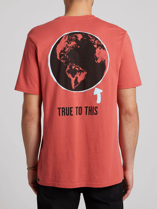 Message Short Sleeve Tee In Mineral Red, Back View