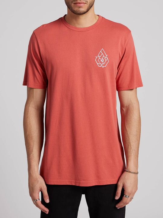 Message Short Sleeve Tee In Mineral Red, Front View