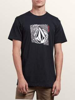 Stonar Waves Short Sleeve Tee In Black, Front View