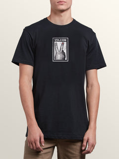 Peace Off Short Sleeve Tee In Black, Front View