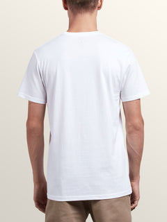 Peace Off Short Sleeve Tee In White, Back View