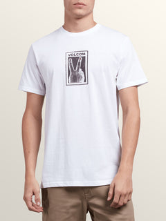 Peace Off Short Sleeve Tee In White, Front View