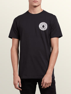 Volcomosphere Short Sleeve Tee In Black, Front View
