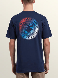 Volcomosphere Short Sleeve Tee In Navy, Back View