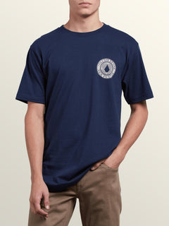 Volcomosphere Short Sleeve Tee In Navy, Front View