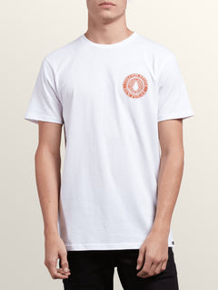 Volcomosphere Short Sleeve Tee In White, Front View