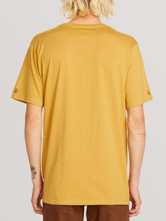Solid Pocket S/s Tee In Camel, Back View