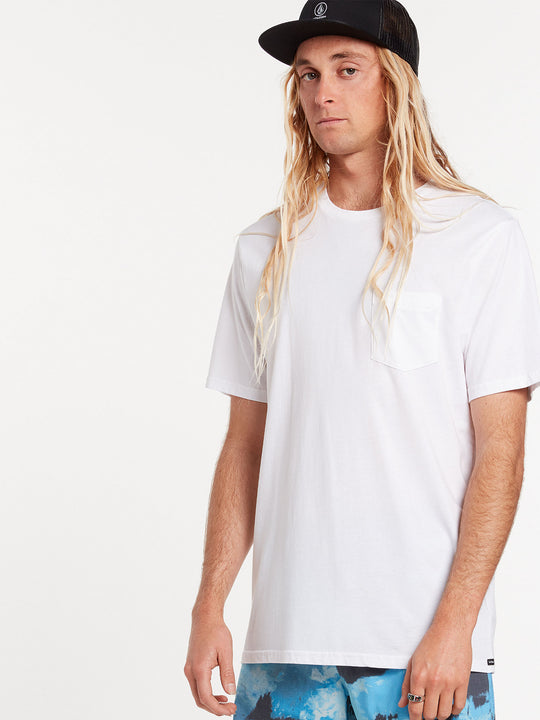 Solid Short Sleeve Pocket Tee - White (A5031808_WHT) [26]