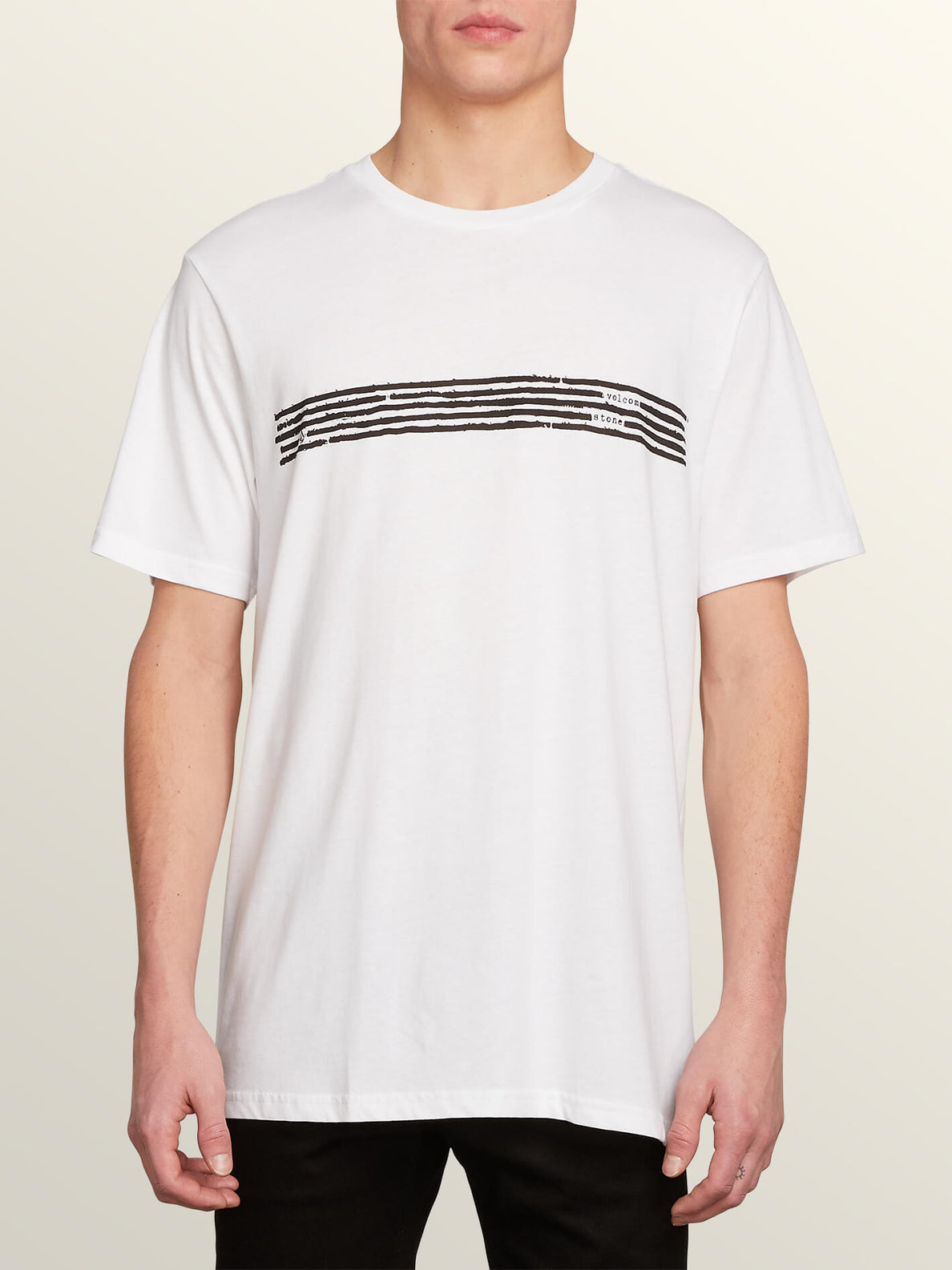 Block Out Short Sleeve Tee In White, Front View