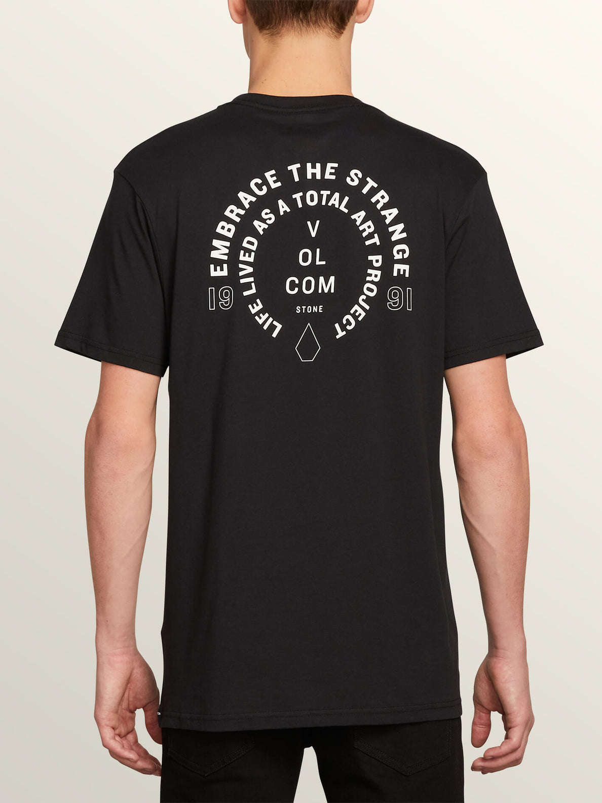 Key-ring Short Sleeve Tee In Black, Back View