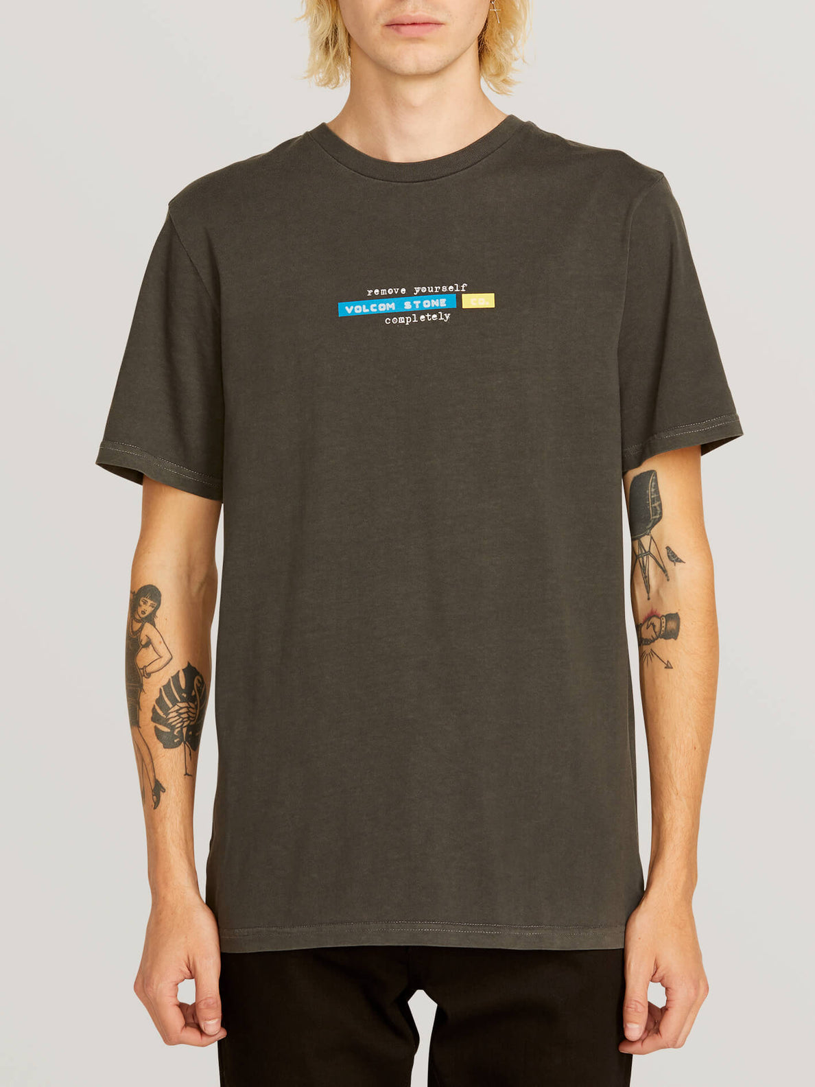 Systematic Short Sleeve Tee In Black, Front View