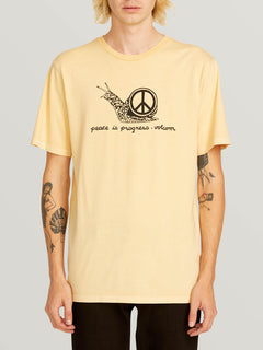 Peace Is Progress Short Sleeve Tee In Light Peach, Front View