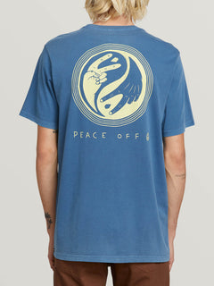 Peace Off Short Sleeve Tee In Indigo, Back View