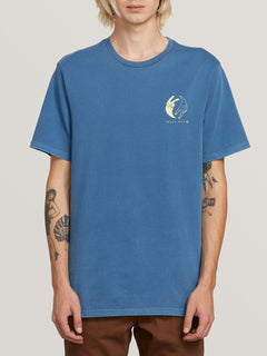 Peace Off Short Sleeve Tee In Indigo, Front View